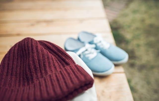 ニット帽と靴