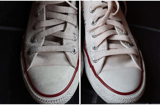 スニーカーの洗う前と洗った後の比較