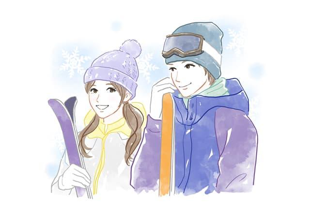 スキーウェアを着たカップルのイラスト