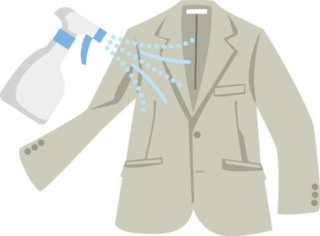 スーツに消臭スプレーをかけるイラスト