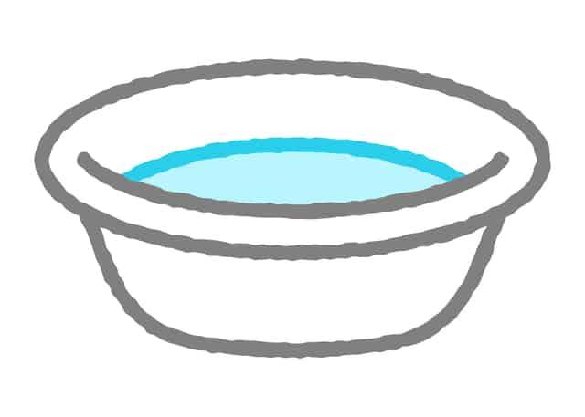 水を張った洗濯桶